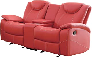 Homelegance Double Glider Reclining Love Seat Faux Leather, Red