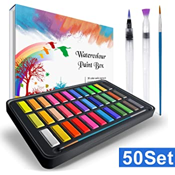 Caja de acuarelas, RATEL set de pintura de acuarelas incluye 36 colores pigmento sólido + 2 plumas de gancho de línea + 2 pinceles para tanque de agua + 10 papeles acuarela,colores acuarela conjunto: Amazon.es: Hogar