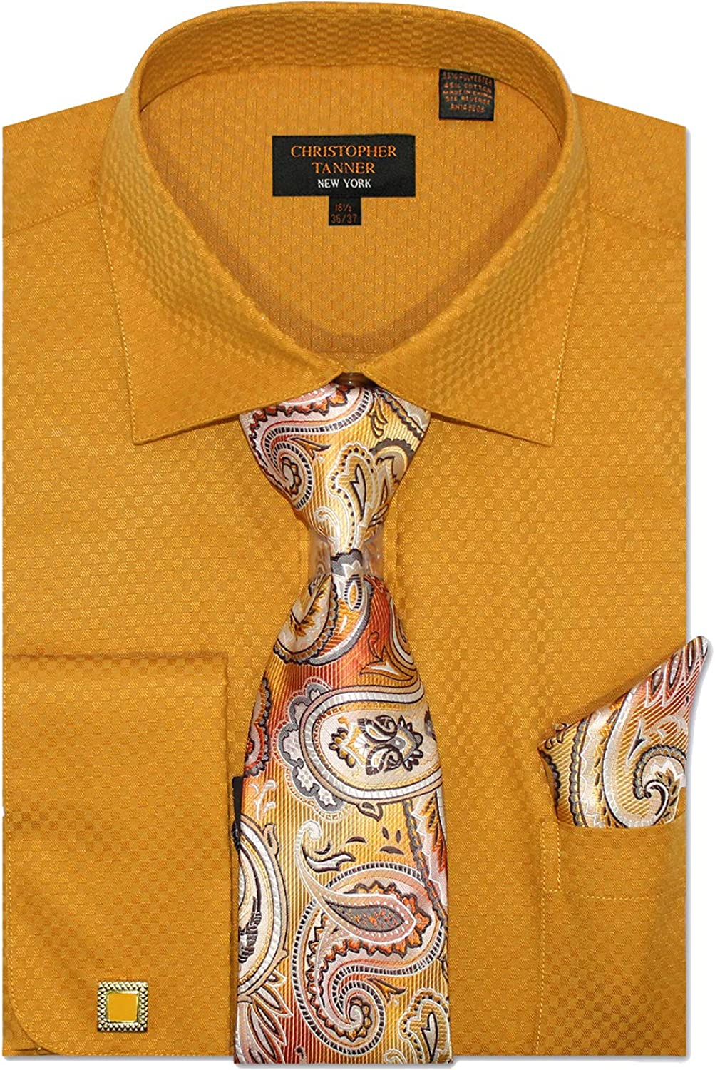 Men's Solid Square Pattern Regular Fit Dress Shirts with Tie Hanky Cufflinks Combo French Cuffs