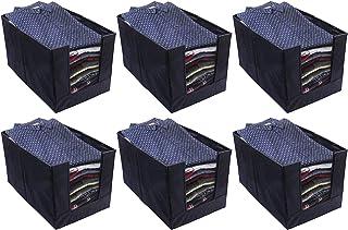 Kuber Industries 6 Piece Non Woven Shirt Stacker Wardrobe Organizer Set, Black-CTKTC031834