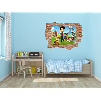 """Paw Patrol Broken Wall 3D Smashed Bricks Effect - Removable Wall Decal Vinyl for Home Decoration (25"""" x 19"""")"""