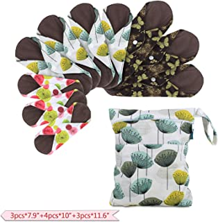 Teamoy 10pcs Cloth Panty Liners, Reusable Sanitary Pads with Wet Bag, Washable Cloth Menstrual Pads with Charcoal Absorbency Layers (Country Style, 3pcs×7.9