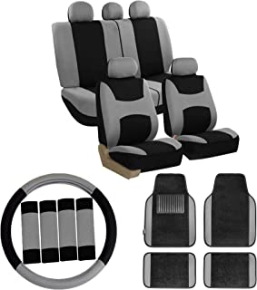 FH Group FH-FB030115 Light & Breezy Cloth Seat Covers (Airbag & Split) W.FH2033 + F14407 Carpet Floor Mats Gray/Black- Fit Most Car, Truck, SUV, or Van