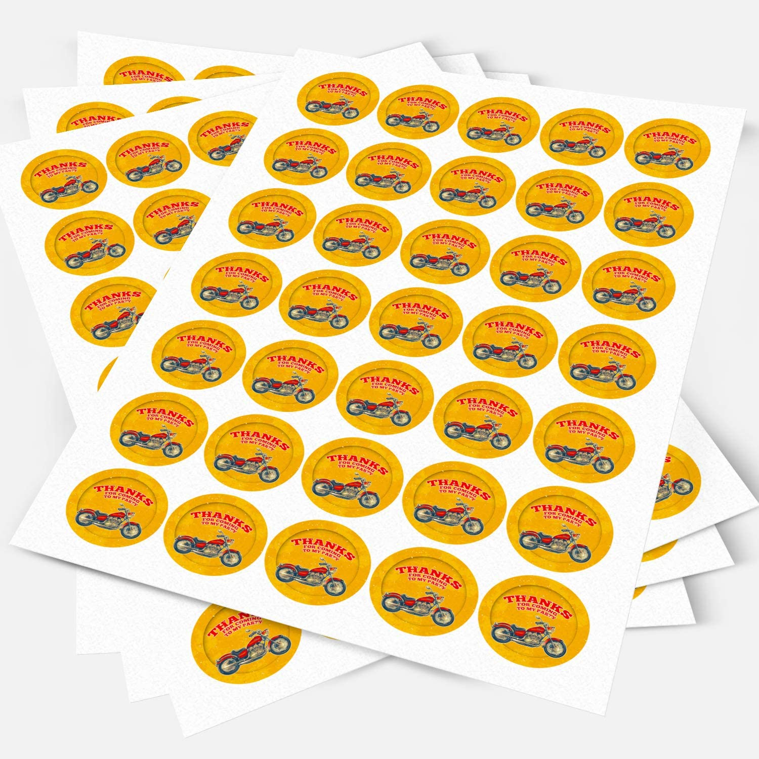 Motorcycle Motorbike Sticker Labels Sweet Cones Party Bags Gift Boxes Favors Thank You 3.5 CM x 35 // 1, A4 Sheet NON-PERSONALISED