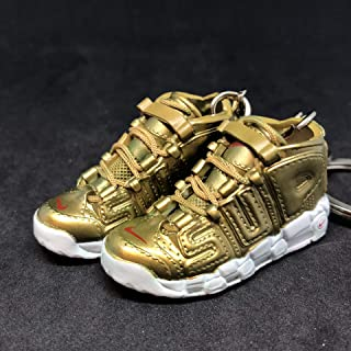 Pair Air More Supreme Uptempo Gold Suptempo OG Sneakers Shoes 3D Keychain 1:6 Figure