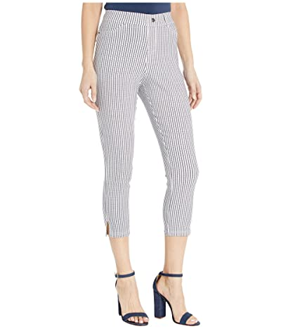 HUE Striped Ultra Soft Denim High-Waist Capris (White Stripe) Women