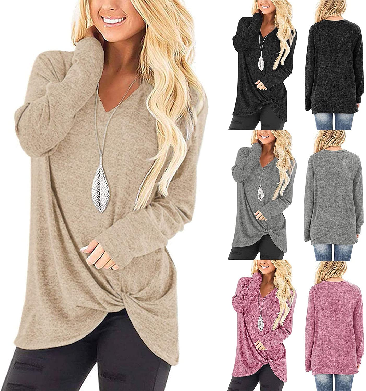 UOCUFY Women Long Sleeve Tops, Womens Tunics Shirts Tops Long Sleeve Loose Casual Crewneck Comfy Pullover Tops