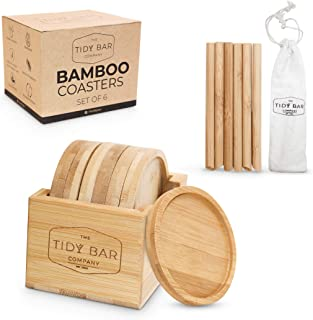 Tidy Bar | Bamboo Drink Coasters Set of 6 with Holder and 6 Bamboo Straws | Absorbent, Water Resistant & Heatproof Home Ba...
