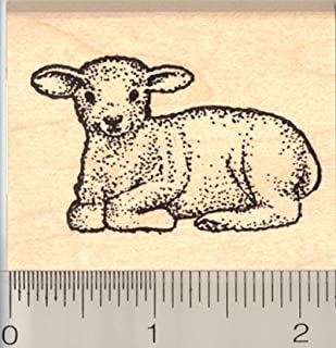 Lamb Rubber Stamp, Baby Sheep at Rest, Easter, Livestock