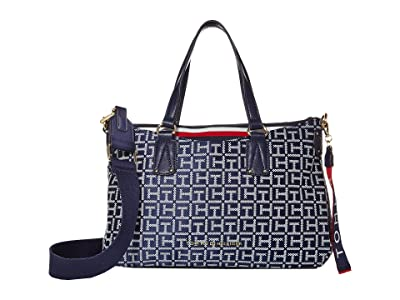 Tommy Hilfiger Walker Jacquard Satchel (Navy/White) Satchel Handbags