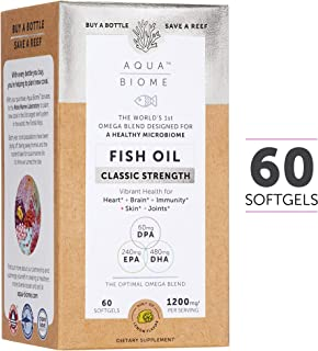 Aqua Biome by Enzymedica, Fish Oil Classic Strength, Complete Omega 3 Supplement, Gluten Free and Non-GMO, 60 softgels (30 Servings)