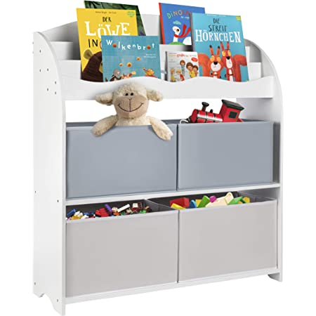 ONVAYA® Estantería Infantil Blanca | Estantería Infantil con Cajas | Almacenamiento de Libros y Juguetes | Organizador de Habitaciones Infantiles