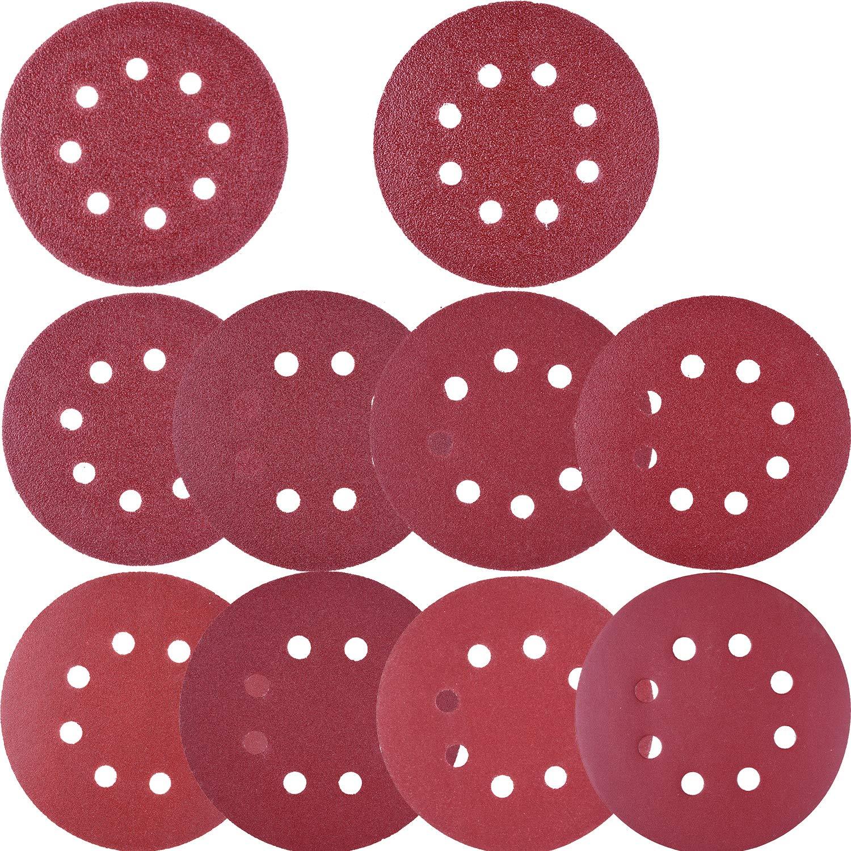 1000//800//600//400//320//240 Grit Sandpaper for Random Orbital Sander by V-story 60Pcs Sanding Discs 5 Inch 8 Holes