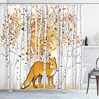 SZZWY Fox Hunting in The Autumn Forest Birch Trees Rustic Life Wild Animals Cloth Hooks Bathroom Pattern Easy to Clean Shower Curtain Suitable for Bathroom Bathroom Hotel Curtain Orange White