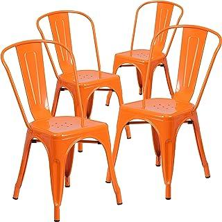 Flash Furniture Commercial Grade 4 Pack Orange Metal...