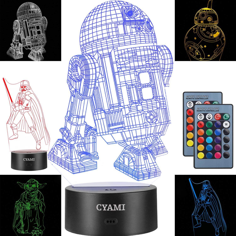 Star Wars Nachtlicht für Kinder, 3D-Illusion, 4 Muster und 7 Farbwechsel-Nachtlicht – perfektes Geschenk für Geburtstag und Weihnachten, ideal für Jungen, Mdchen, Baby und alle Star Wars Fans Set2