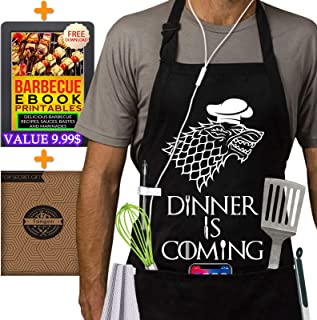 Grill Aprons Kitchen Chef Bib - Famgem Dinner is Coming Professional for BBQ, Baking, Cooking for Men Women / 100% Cotton, Adjustable 3 Pockets, Black