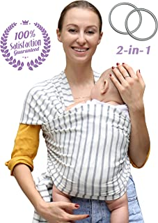 Baby Wrap Carrier and Ring Sling for Newborn, Infants and Toddlers by Bonne Vie Baby | Breathable and Comfortable Cotton Wrap | Baby Wearing Made Easy | Boy Girl Baby Shower and Registry Must Haves