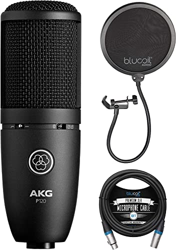 new arrival AKG online P120 Cardioid Condenser Microphone for sale Voiceovers, Vocals, Pianos, Guitars, and String Instruments Bundle with Blucoil 10-FT Balanced XLR Cable, and Pop Filter Windscreen online sale
