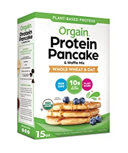 Orgain Protein Pancake & Waffle Mix, Whole Wheat & Oat - Made with Organic Rice Flour, 10g of Plant Based Protein, Made without Dairy & Soy, Non-GMO, 15 Oz