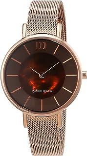 Montre Femmes Danish Design Quartz - Affichage Analogique Bracelet Acier Inoxydable plaqué Or Rose et Cadran Marron 3320219