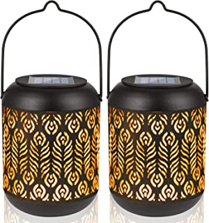LeiDrail Solar Lights Outdoor Tabletop Lantern for Table Pathway Garden Yard Solar Powered LED Retro Hanging Light Black Metal Waterproof Warm White Landscape Lighting with Handle - 2 Pack