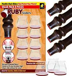 Ruby Sliders As Seen on TV by BulbHead - Premium Chair Covers Protect Floors from Scratching - Stretchable Silicone Fits Most Furniture Leg Sizes & Shapes - Chairs Slide Without Noise, 8 Pack