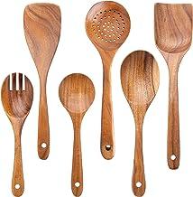 6Pcs Wooden Cooking Spoon, Wooden Spoons, Wooden Spatulas, Wooden Kitchen Utensil Set, Teak Wooden Serving Spoons