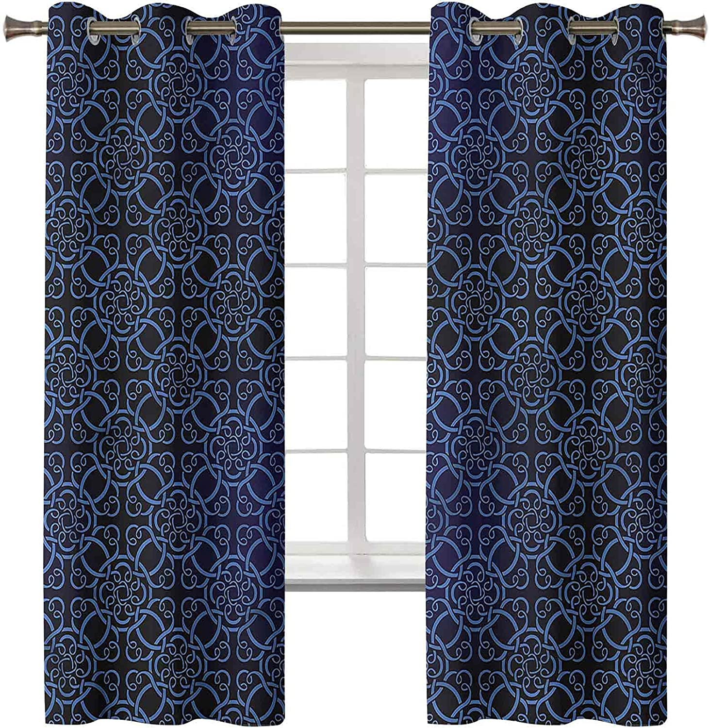 Royal Blue Chicago Mall Fashionable Curtains Drapes Set of 2 42W Panels Inch Lux 63L x