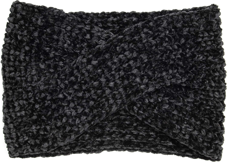 MUK LUKS Women's Chenille Twist Headband, Black, OSFM