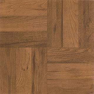 PrimeHome Collection Madison 3 Finger Med. Oak Parquet 12x12 Self Adhesive Vinyl Floor Tile - 20 Tiles/20 sq. ft.