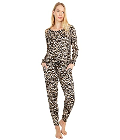 Kate Spade New York Brushed Sweater Knit Long Sleeve Tee Joggers Pajama Set (Small Classic Leopard) Women