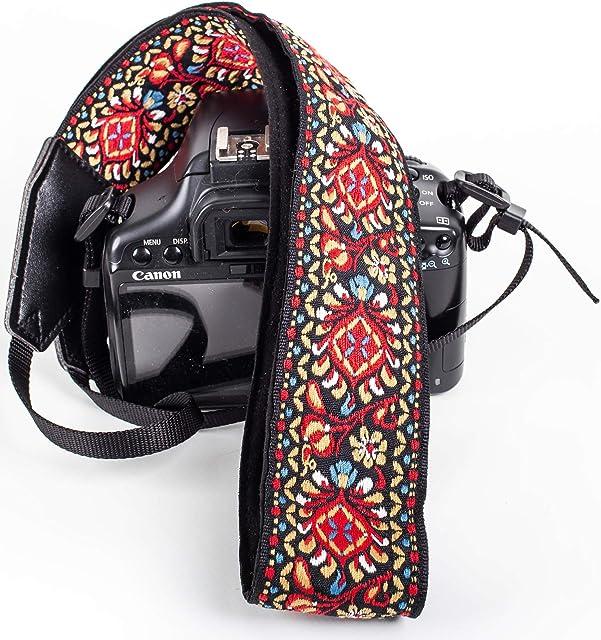 Correa de cámara Vintage roja para cámaras DSLR – Correa Universal Multicolor para réflex – Correa de Hombro y Cuello para Canon Nikon Pentax Sony Fujifilm y cámara Digital