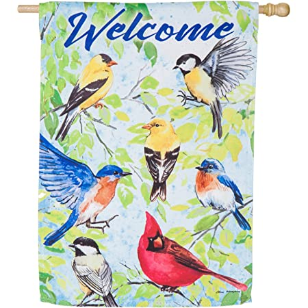 Evergreen Birds Welcome Outdoor Safe Double Sided Suede House Flag 29 X 43 Inches Garden Outdoor