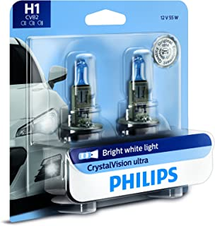 Philips H1 CrystalVision Ultra Upgrade Bright White Headlight Bulb, 2 Pack