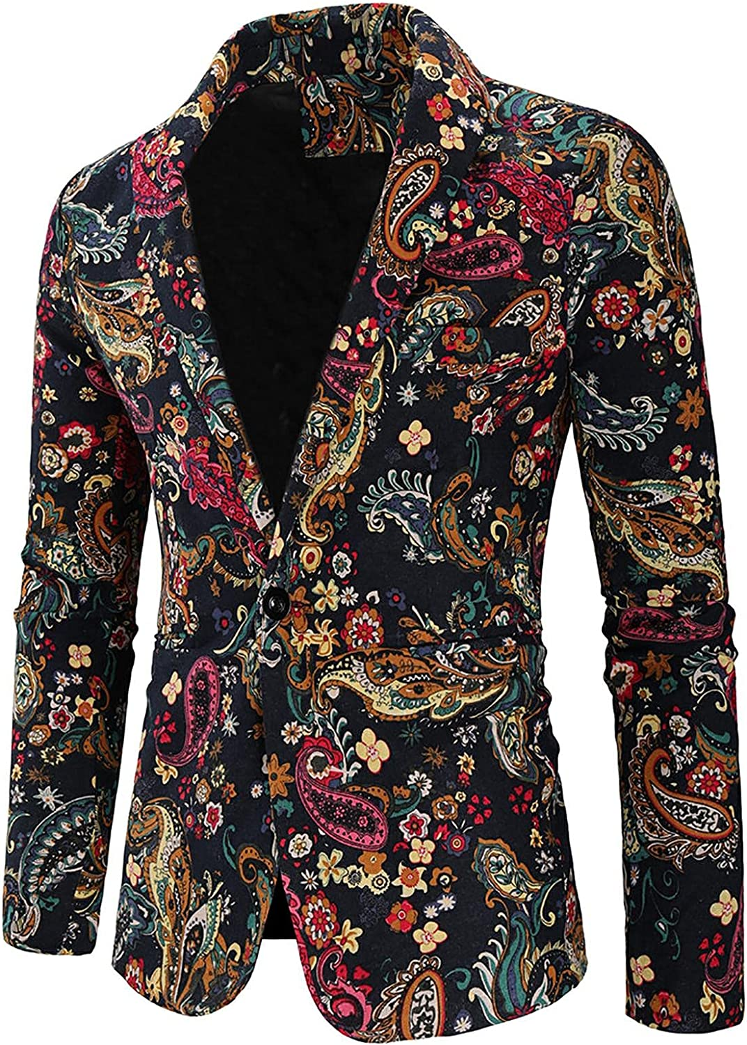 Men's Business Blazer Fashion Personality Printed Casual Slim Suit Formal Dress Coat Jacket for Wedding and Party
