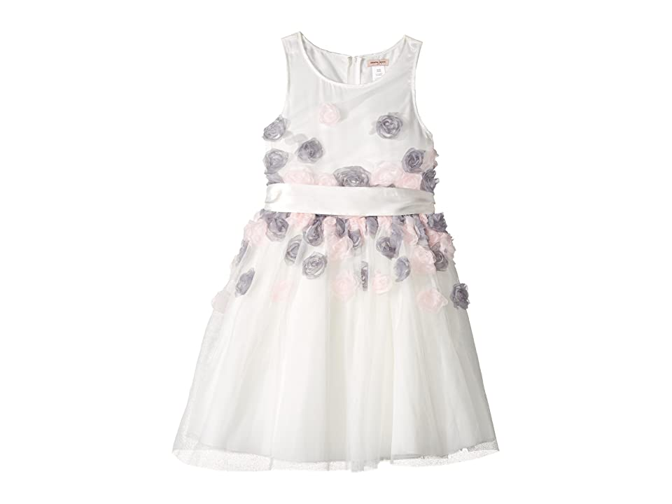 Nanette Lepore Kids Mesh Dress with 3-D Roses (Little Kids/Big Kids) (White) Girl