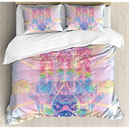 Vibrant Protective Eye Print Details about  /Hamsa Quilted Bedspread /& Pillow Shams Set