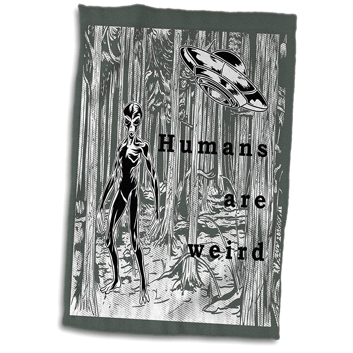 3dRose Made in The Highlands - Vector- Humans are Weird - Aliens and Spaceships with Text - Humans are Weird - 15x22 Hand Towel (TWL_300719_1)