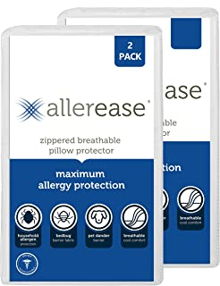 Aller-Ease Maximum Allergy Protector, Standard/Queen, 2-Pack – Hypoallergenic Pillow Cover, Zippered Design Prevents Colle...