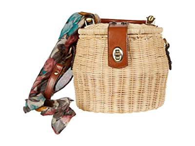 Patricia Nash Antiniana Small Round Wicker Bag (Natural/Tan/FB Scarf) Bags