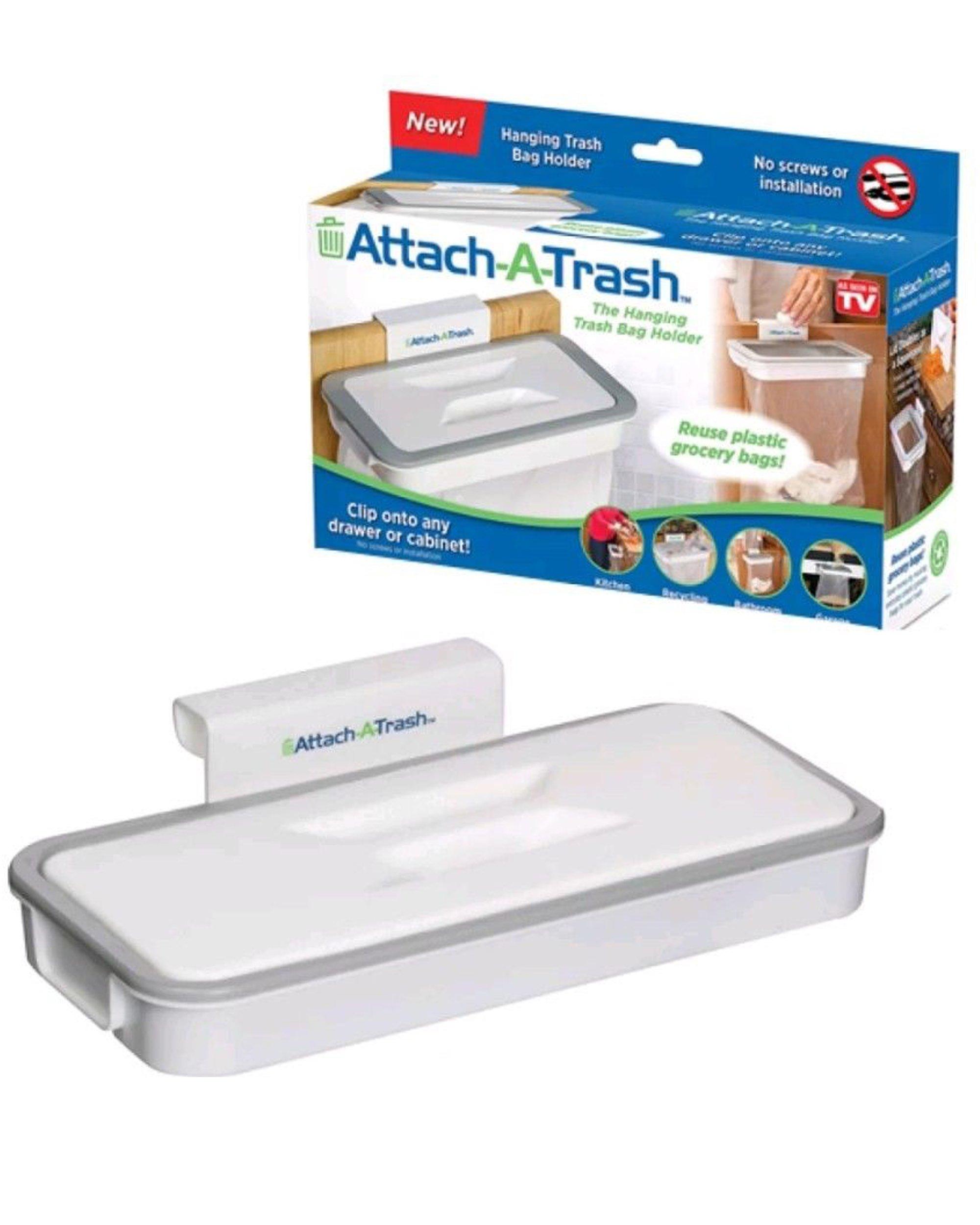 Attach-A-Trash Hanging Trash Bag Holder For Home Kitchen Waste Dirt Rubbish Bin
