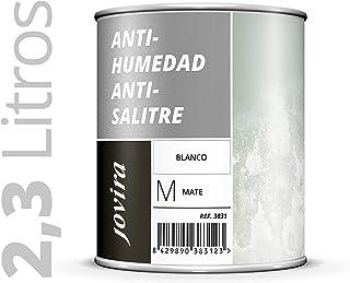 PINTURA ANTIHUMEDAD ANTISALITRE BLANCO MATE impermeabilizante,Protege y aísla fachadas, muros, paredes (ANTI-HUMEDAD ANTI-SALITRE) 2.3 Litros