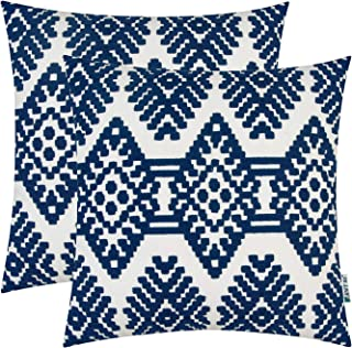 HWY 50 Embroidered Decorative Throw Pillow Covers Set Cushion Cases for Couch Sofa Living Room Navy Blue Modern Geometric Rhombus 18 x 18 inch Pack of 2