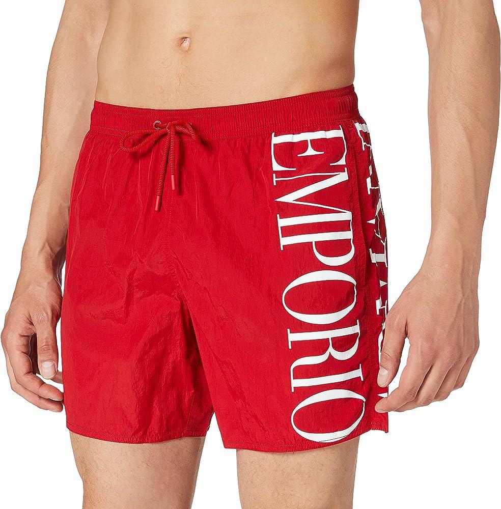 Emporio armani swimwear, costume da bagno a forma di boxer per uomo, 100% poliestere 211740 1P414 06574
