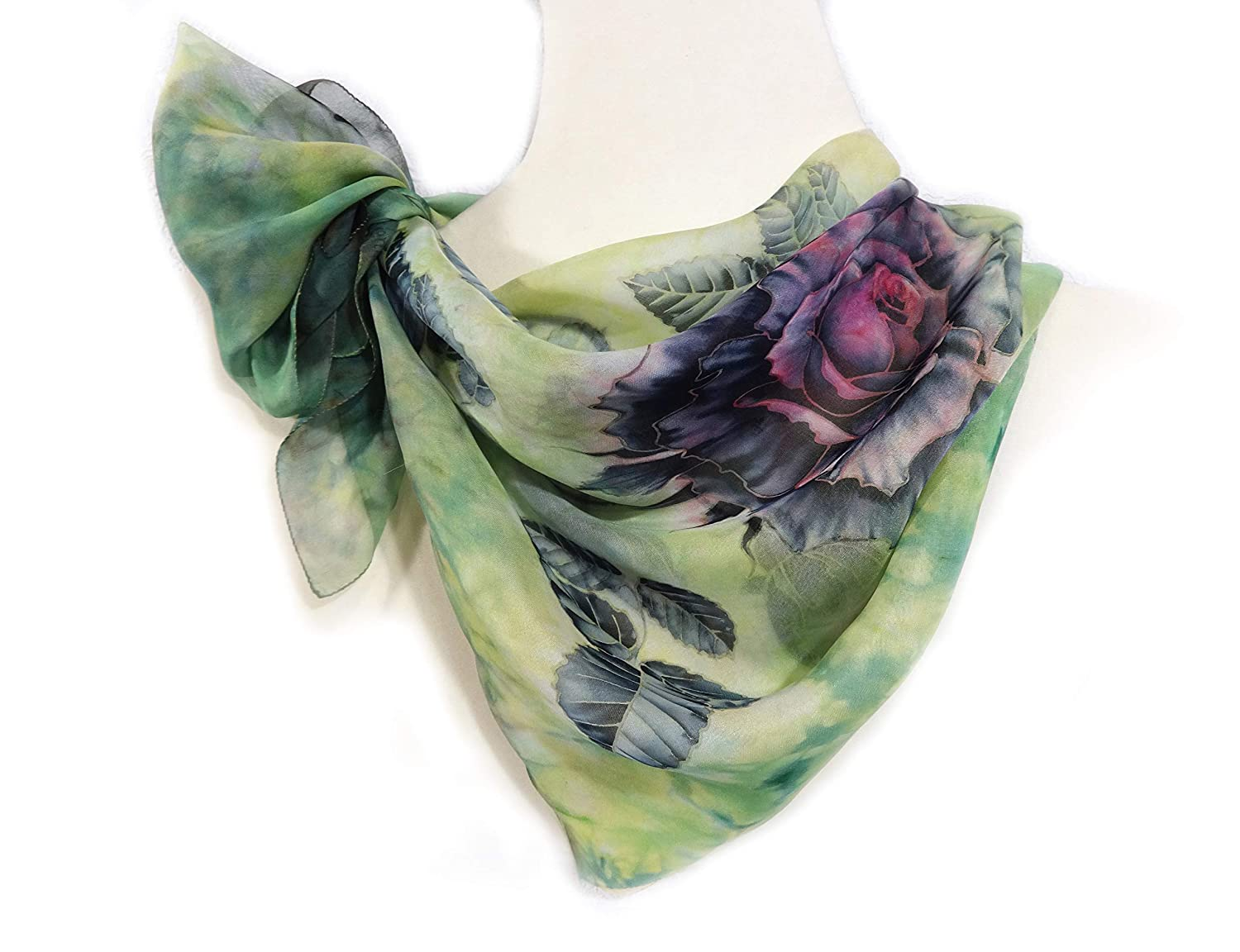 Womens Silk SEAL limited product Scarf Department store Hand Painted painting Unique Blac Green Square