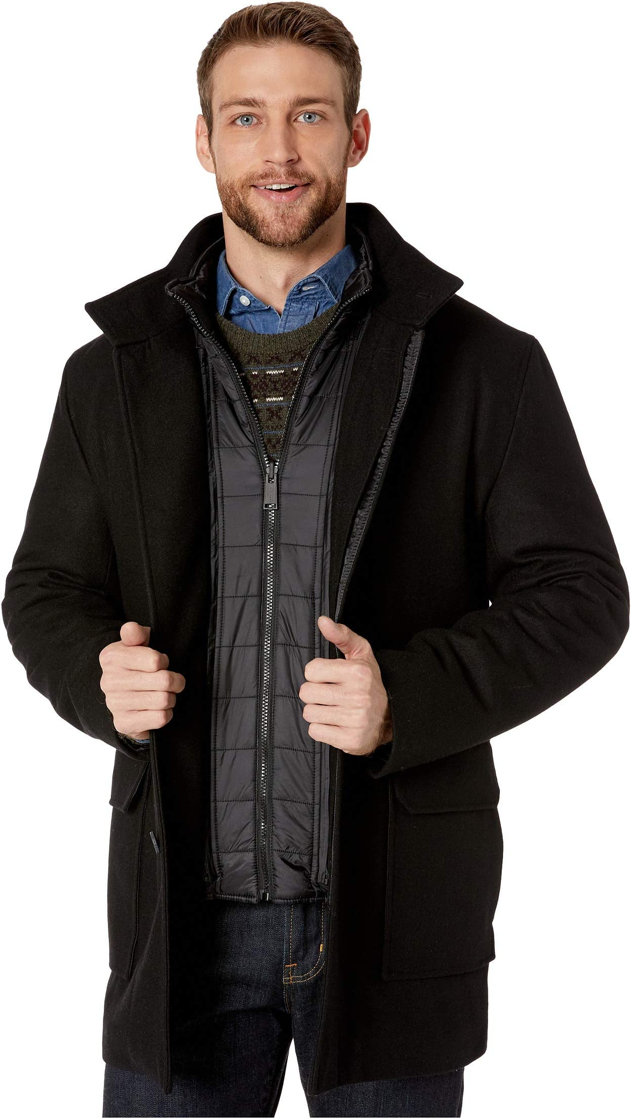 Cole Haan 3-in-1 Pressed Melton Car Coat, Removable Bib Converts to Quilted Jacket ELwOk