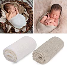 Outgeek Newborn Baby Photography Props 2 Pcs Long Ripple Wrap Newborn Props Baby Photo Props DIY Newborn Photography Wrap (White and Light Brown)