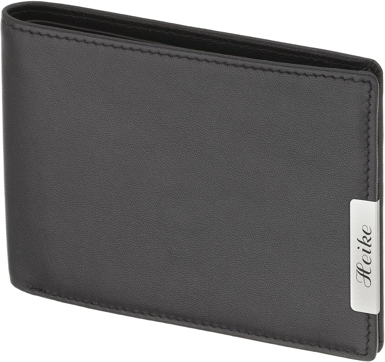 Cadenis Herren Geldbeutel Geldbörse Leder mit Laser-Gravur aus Rindnappa schwarz Querformat 12 x 10 cm B00N59NQ9A