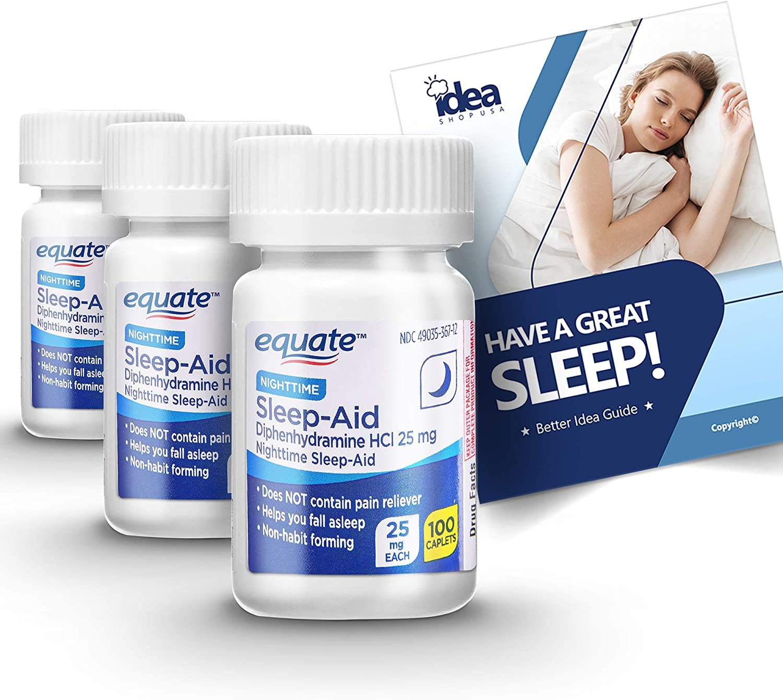 Equate Popular product famous Nighttime Sleep Aid Diphenhydramine HCl Caplets mg + 25